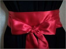 "NEW 2.5""X100"" RED SATIN SASH SELF TIE BOW WRAP BELT FOR PARTY PROM BRIDAL DRESS"