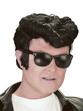Mens Black Presley 50s Danny Wig Rockabilly Teddy Boy Fancy Dress 1950s Quiff