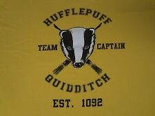 HARRY POTTER- HUFFLEPUFF CAPTAIN -QUIDDITCH  EST. 1092- 2XL YELLOW T-SHIRT- E580