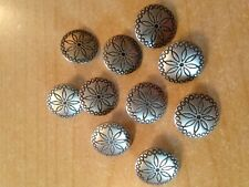 "CONCHOS ""Daisy"" 5/8"" Antique Pewter Concho Buttons Craft 10 pcs"
