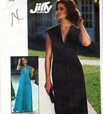 "EASY Vintage 70s DRESS Sewing Pattern UNCUT Bust 32.5"" Sz 8 Evening RETRO Knit"