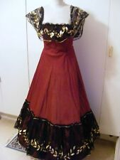 Vintage Edwardian theatrical costume bustle dress ballgown burgundy & black lace