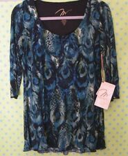 NWT*  Miraclebody  SHAPING Blue  Print  3/4 Sleeve  Jersey TOP    S