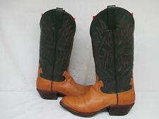 D.L. MABE Custom Boots Tan Green Leather Cowboy Boots Size 9 Narrow USA