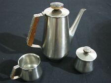 1960's Danish Modern Pewter & Teak Coffee Set with Pitcher 18/8 Stainless