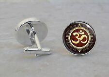 Om Aum Symbol Meditation Cuff Links