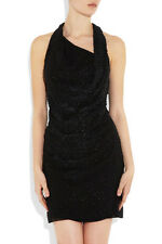 ❤️NWT HELMUT LANG $920 'GRANULE'-6/8-LBD w/LEATHER PAILLETTES-PARTY CHIC!