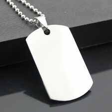 Military Dog Tag Stainless Steel Pendant Ball Bead Necklace Army Mens New