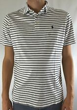 Ralph Lauren Men's Pima Soft Touch Polo Shirt White Navy Blue Stripes Size XL