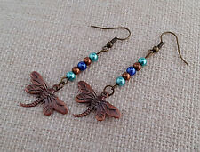 Blue, green and copper dragonfly earrings