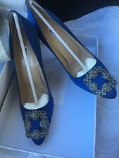 NIB Auth MANOLO BLAHNIK Hangisi 115mm Crystal-buckle Satin Pumps, Cobalt Blue 37