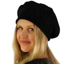 Ladies Soft Warm Floral Knit Curled French Basque Beret Tam Beanie Ski Hat Black