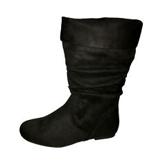 Women Round Toe Winter Comfort Casual Slouchy Mid Calf  Flat Boots Faux Suede