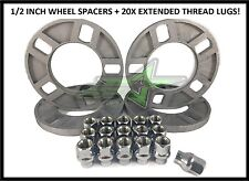 """4 CORVETTE WHEEL SPACERS 5X4.75   1/2"""" INCH THICK + 20X EXTENDED THREAD LUG NUTS"""