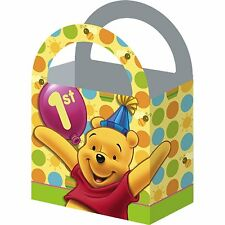 4  NEW WINNIE THE POOH POOH'S FIRST BIRTHDAY  TREAT BOXES PARTY FAVOR SUPPLIES