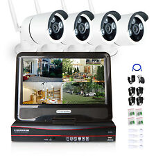 10.1'' LCD Monitor 4CH CCTV NVR 960P IP HD Wireless Home Security Camera System