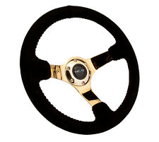 NRG Innovations Race Series Steering Wheel Black Suede Gold Spokes - RST-036GD-S