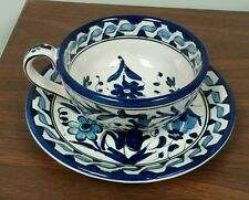 Blue floral teacup and saucer handmade in Rhodes, Greece by ICAROS Pottery