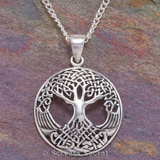 925 Sterling Silver CELTIC TREE OF LIFE Irish Pendant Knot Work Necklace