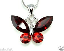 Butterfly W Swarovski Crystal Red New Pendant Necklace Chain Jewelry Gift