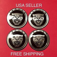 JAGUAR 4Pcs Black 65mm Domed 3D Emblem Badge Wheel Center Cap Decals Stickers