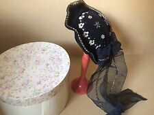 New Victorian Hat-Putting On The Ritz Black Velvet & Beads-Stand in Box