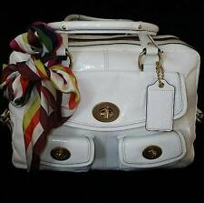 COACH Ltd Ed Peyton Atlantic Wht Patent Leather Legacy Tote Bag Satchel w/ Scarf