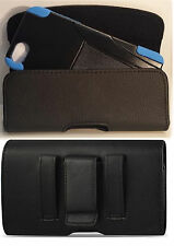 IPHONE 5 5c 5s HOLSTER BELT LOOP CLIP LEATHER POUCH FITS WITH A HYBRID CASE ON