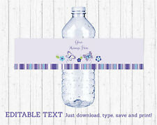 Lavender Butterfly Garden Water Bottle Labels Printable Editable PDF