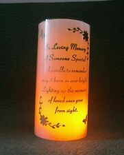 MEMORIAL CANDLE LED LIGHT WITH VERSE FOR GRAVE OR CEMETERY ORNAMENT