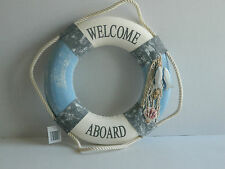 "NAUTICAL LIFE RING ""WELCOME ABOARD"" SIGN BEACH SEASIDE"