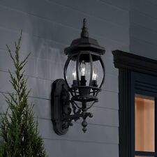 Black Outdoor Light Fixture Lantern Porch Patio Wall Exterior Sconce Lighting