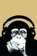 STEEZ MONKEY POSTER 61x91CM 'Tuning In Headphones' DJ Wall Music NEW
