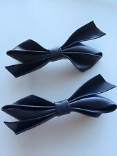 2x Girl Kid Lady School Color Navy blue bow Syn Leather Alligator Hair Clip On