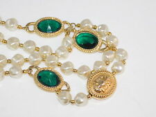 "Vtg Baroque White Pearl Bead Strand Emerald Green Rhinestone 30"" Necklace 8k 37"