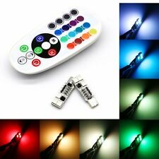 2x T10 6 RGB LED Car Interior Dome Reading Light Lamp Bulb W/ Remote Control