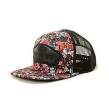 Vans Off The Wall Beach Girl Trucker Hat Womens Black Pink Rose Floral New NWT
