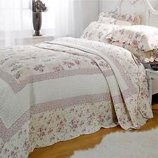 King Size Lilac Floral Patchwork Quilted Bedspread Throw + 2 Pillow Shams