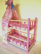 NEW WOODEN BUNK BED COT CRIB DOLLS TOY .