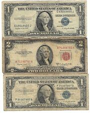 Old Rare US One Blue Silver Certificate Two Dollar Red Seal Bill Collection Lot