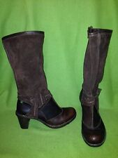 Brown Leather & Suede El Naturalista Knee-High Boots 8 39