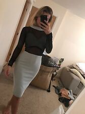 Size 10 Miss Pap Black White Striped Sheer Mesh Bodycon Tight Midi Dress BNWT