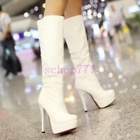 Winter Fashion Ladies Platform Ruched High Heel Knight Boot knee High Boots Size