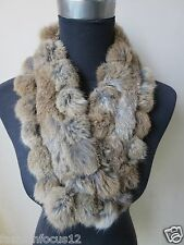 free shipping /This year latest style real handmade rabbit fur scarf/ brown