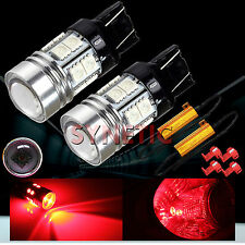 2x 7443 High Power CREE Q5 Red LED Turn Signal Blinker Light Bulbs & 2 Resistors