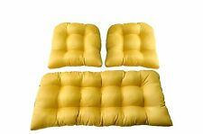 In / Outdoor Wicker Cushions 3 Piece Set ~ Woven Twill Mojo Sunkissed Yellow