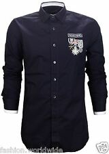 Authentic Love Moschino Black Medal Shirt w/ Metal Badge Cotton Shirt Size 3XL