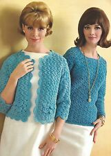 Vintage Crochet PATTERN to make 2 Sweaters Cardigan Jacket Pullover Shell Stitch