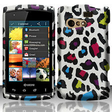 Kyocera Rise C5155 Rubberized HARD Protector Case Phone Cover Rainbow Leopard