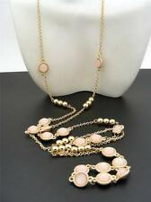 "$16 Nordstrom Station Necklace Round Pink Faceted Cabs Goldtone Beads 43"" Long"